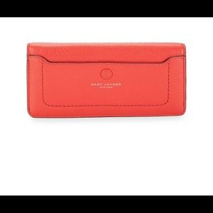 NWT MARC JACOBS OPEN FACE LEATHER WALLET! POPPY RD